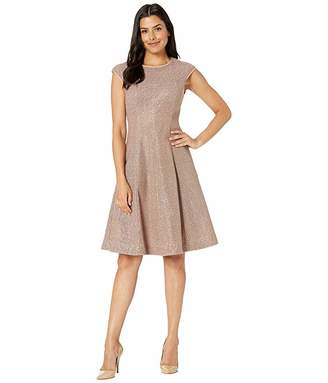 Maggy London Illusion Sequin Fit and Flare Dress