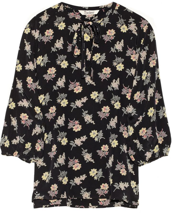 Tucker Floral-print silk crepe de chine blouse