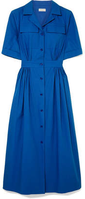 Dries Van Noten Pleated Cotton-piqué Midi Dress - Blue