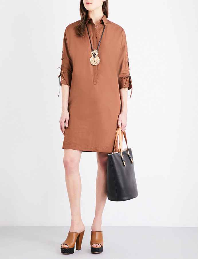 Max Mara Max Mara Lace-up detail pure-cotton shirt dress