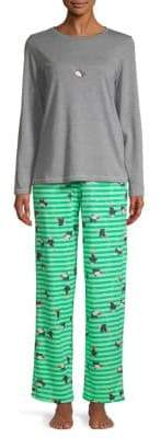 Hue Two-Piece Penguin Shimmer Knit Pajamas