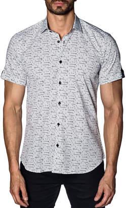 Jared Lang Men's Semi-Fitted Line-Print Short-Sleeve Sport Shirt