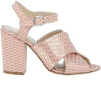 Elena Iachi Nude Fabric Sandals
