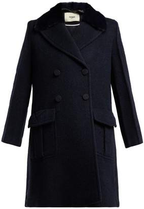 Fendi Double Breasted Wool Blend Coat - Womens - Navy