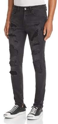PATRON SAINT OF Skelter Corded Knee Skinny Fit Jeans in Black Shock Trash