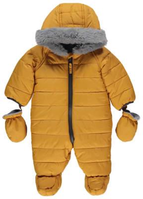 George Yellow Hooded Faux Fur Trim Snowsuit