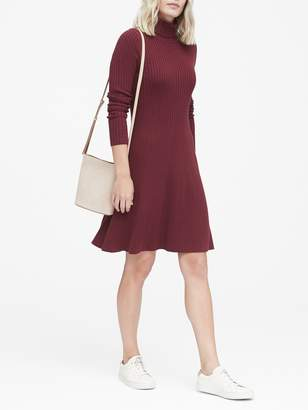 Banana Republic Ribbed Cotton-Blend Turtleneck Sweater Dress