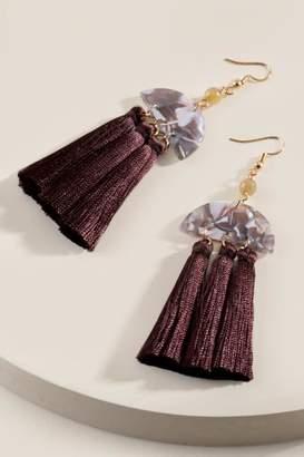 francesca's Phoebe Tassel Drop Earrings - Brown