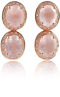 Eliza J Bautista - Rose Quartz & White Topaz Two-Way Earrings (Stud & Dangling)