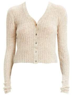 Theory Women's Cropped Alpaca-Blend Cardigan - Light Melange Brown - Size Small