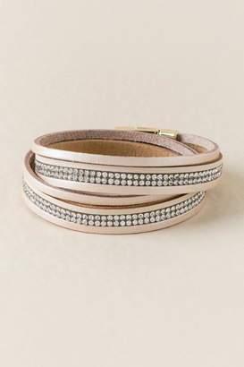 francesca's Leona Leather Wrap Bracelet In Rose Gold - Rose/Gold