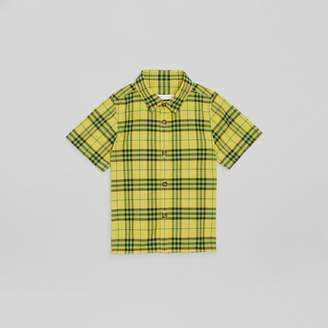 Burberry Short-sleeve Check Cotton Shirt , Size: 14Y, Yellow
