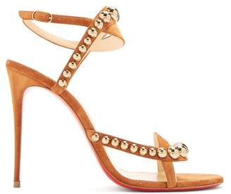 Christian Louboutin Galeria 100 Stud Embellished Suede Sandals - Womens - Tan