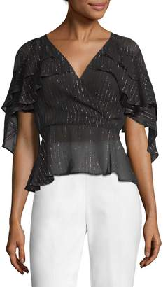 Plenty by Tracy Reese Women's Metallic Stripe Wrap Blouse