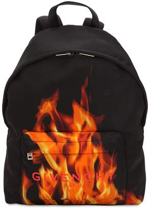 Givenchy Flame & Logo Printed Nylon Backpack