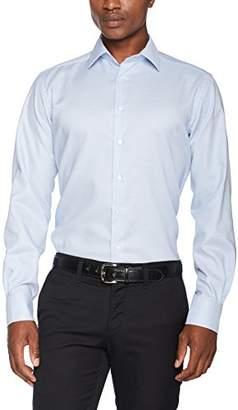 Eterna Men's Fit Langarm Hellblau Kariert Mit Modern Kent-Kragen Business Shirt