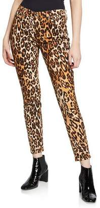 7 For All Mankind Ankle Skinny Mid-Rise Leopard-Print Jeans