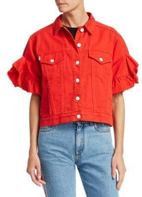 MSGM Short Sleeve Ruffle Denim Jacket