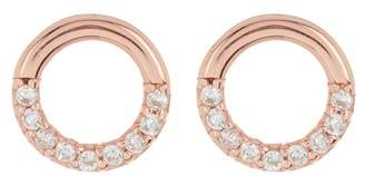 Argentovivo 18K Rose Gold Plated Sterling Silver Crystal Pave Open Ring Stud Earrings
