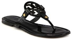 Tory Burch Miller Patent Leather Logo Thong Sandals $195 thestylecure.com