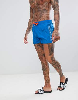Diesel Blue Side Logo Swimming Trunks With Contrast Cords