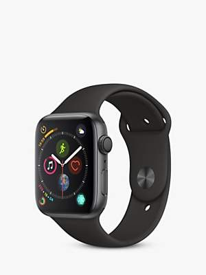 Apple Watch Series 4, GPS, 44mm Space Grey Aluminium Case with Sport Band, Black