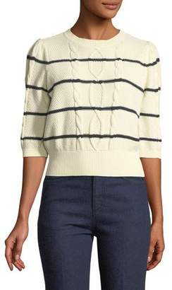 Veronica Beard Moss Striped Cable-Knit Sweater