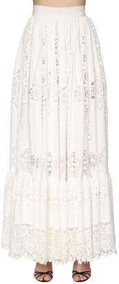 Dolce & Gabbana EMBROIDERED COTTON POPLIN LONG SKIRT