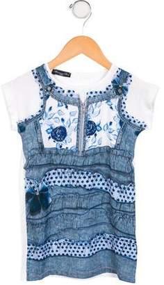 Blumarine Girls' Trompe L'oeil T-Shirt Dress w/ Tags