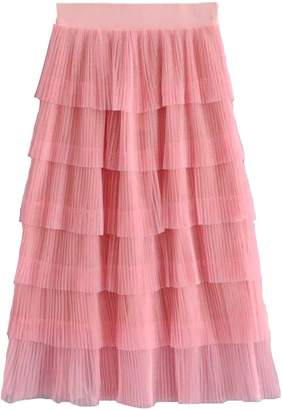 Goodnight Macaroon 'Luna' Layered Ruffle Tulle Midi Skirt