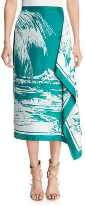 Tibi Leilani Printed Twill Asymmetrical Midi Skirt