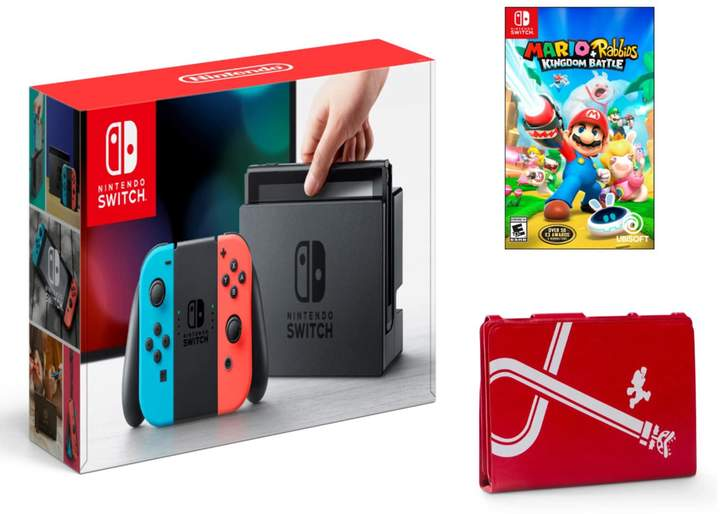 Nintendo Switch Console with Protective Case & Mario + Rabbids Kingdom Battle Game Bundle