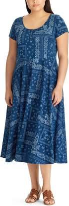 Chaps Plus Size Printed Midi Dress