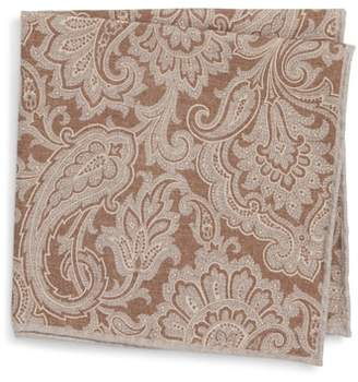 Eleventy Paisley Wool & Cotton Pocket Square