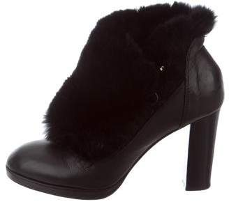 Sonia Rykiel Fur-Trimmed Leather Ankle Boots