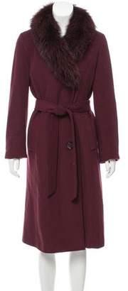 Ellen Tracy Fur-Trimmed Wool Coat