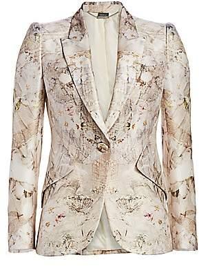 Alexander McQueen Women's Ophelia Print Peak Shoulder One-Button Jacket