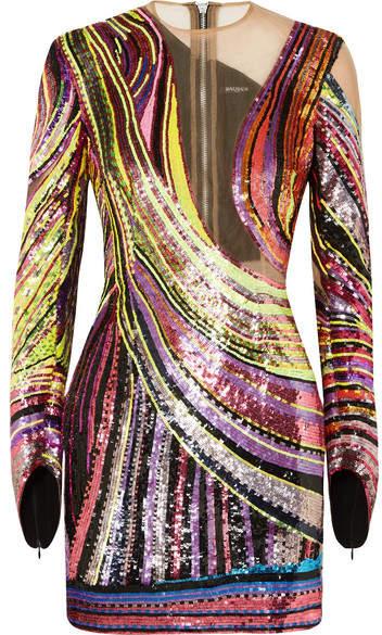 Sequined Mesh Mini Dress - Metallic