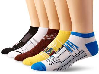 Star Wars Men's 5 Pack No Show Socks, Assorted Blue/Yellow