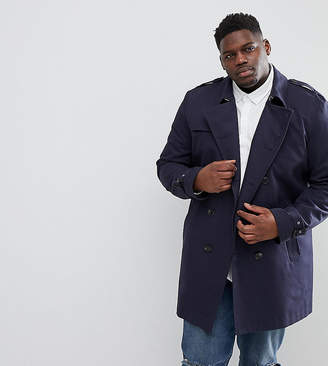 Asos Plus Shower Resistant Double Breasted Trench In Navy