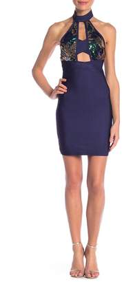 Wow Couture Sequin High Neck Bandage Dress
