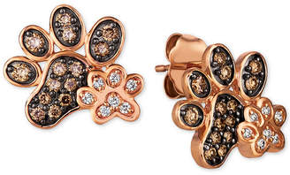 LeVian Le Vian Nude & Chocolate Diamond Paw Prints Stud Earrings (3/8 ct. t.w.) in 14k Rose Gold