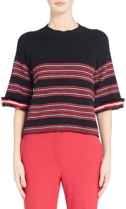 Fendi Genuine Mink Fur Trim Stripe Sweater