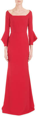 Roland Mouret Coleman Square-Neck Bell-Cuff Trumpet Evening Gown