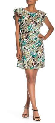 ECI Leaf Print Flutter Sleeve Dress
