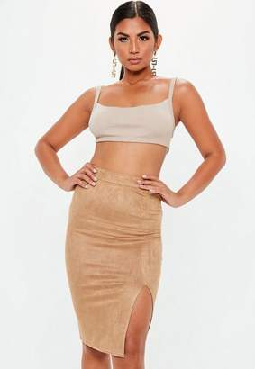 Missguided Tall Tan Faux Suede Split Midi Skirt