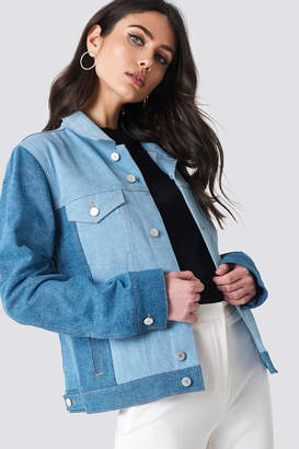 NA-KD Na Kd Two Toned Denim Jacket Mid Blue