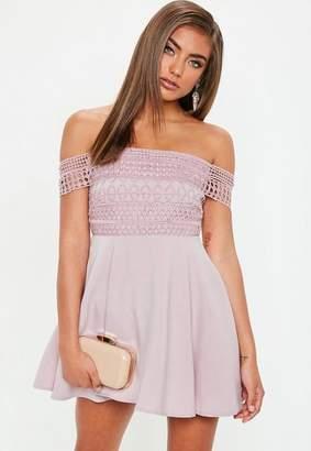 Missguided Petite Pink Lace Strap Bardot Skater Dress