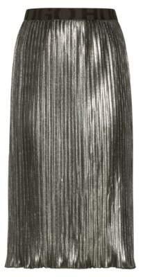 HUGO Boss Plisse midi skirt in metallic jersey logo waistband 6 Green