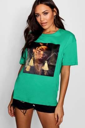boohoo Tassle Earring Face T-Shirt